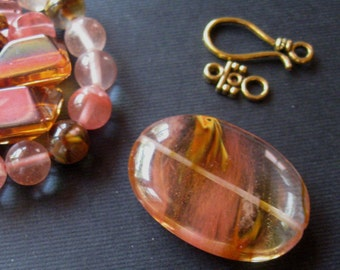Volcano Cherry Quartz, Oval Pendant, Gemstone Beads, Semi Precious, Quartz Beads, DIY Jewelry Kit, Bead Kits, Craft Supply, Jewelry Supplies