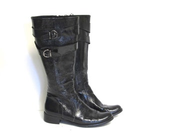 Black Patent Leather Italian Biker Boots with Buckles Womens size 6 EU 35.5 Vintage Charles David knee length Riding Boots