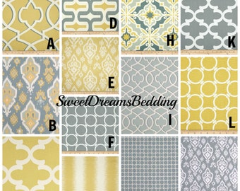 Custom Crib Bedding You Design   Bumper and Bedskirt in Italian Saffron yellow and gray