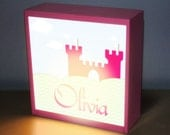 "Children's  8"" x 8"" Princess castle light box table top night light lamp art decor girl pink baby shower gift nursery night light baby light"