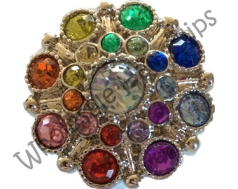 28mm Victorian Rainbow Shank Acrylic Rhinestone Button