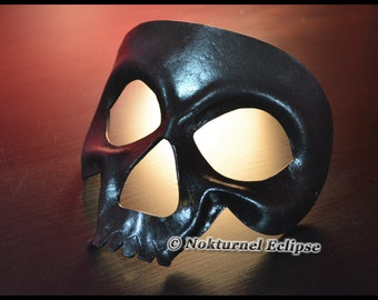 Black Skull Leather Mask Skeletor HeMan Comic Con Cosplay Horror Masquerade Halloween Fetish Costume UNISEX  -  Available In Any Basic Color