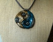 Gold and Blue Yin Yang Pendant Wire Wrapped Industrial Zen Collection