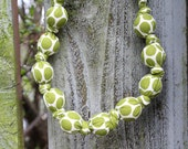 Fern Green Polka Dots and Cream-Mommy and Baby Teething Necklace