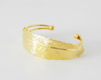 10 Filigree Feather Bangle- Brass Gold Plated Cuff Bracelet Wholesale Jewelry Findings
