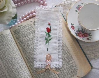 Victorian Lace Red Rose Cross Stitch Book Mark by Los Chiquitos