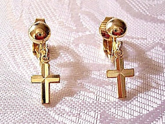 Cross Clip On Earrings Gold Tone Avon Vintage Smooth Dangles