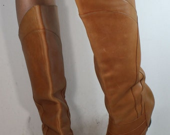 Vintage light brown tan low heel knee high tall womens seychelles Leather fashion boots 8.5 M B