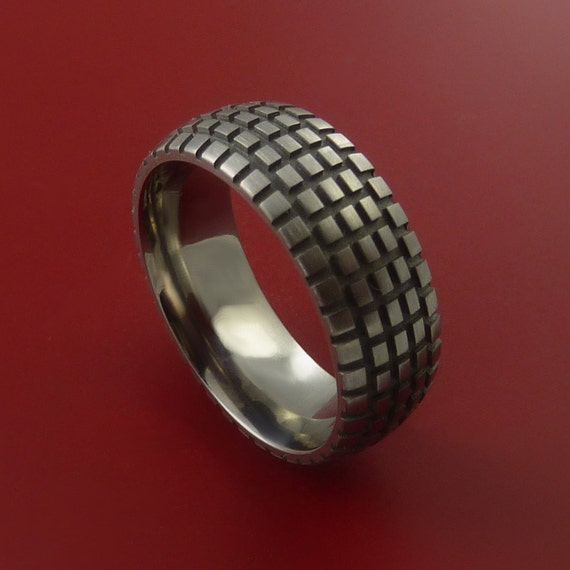 Titanium Carved Design Ring Bold Unique Band Custom Made to Any Sizing 4-22