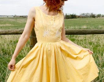 V intage 1950's Yellow Cotton Sundress