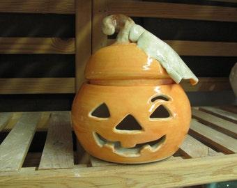 Halloween Pumpkin Ceramic  Jack O Lantern Luminary Second