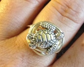Wire Wrapped Ring Large Pewter Sea Turtle Ring Non-Tarnish Silver Plated Wire