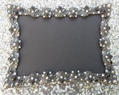 Vintage Style Black JEWELED RHINESTONE FRAME Bling Silver Diamond Chalkboard Gatsby Table Number Frames Ornate Picture Photo Wedding 5x7