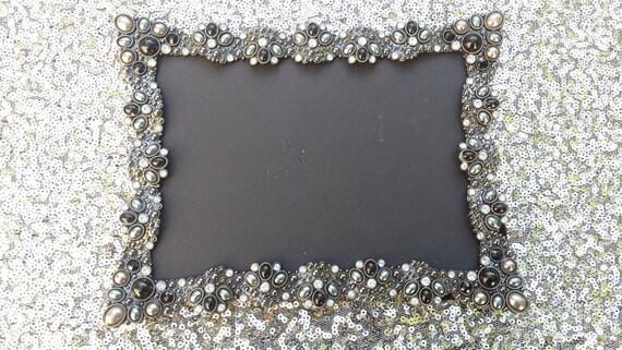 Vintage Style Black Jeweled Rhinestone Frame Bling Silver