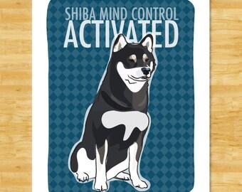 Shiba Inu Art Print - Shiba Mind Control Activated - Black and Tan Shiba Inu Gifts