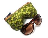 Eyeglass Case, Sunglass Case, Eyeglass Holder, Zippered Eyeglass Case, Green Sparkle Leaves