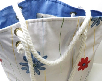 Floral Rope Handles Tote, Summer Tote, White Floral Tote