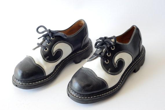 90s Black And White John Fluevog Saddle Shoes Angel Soles