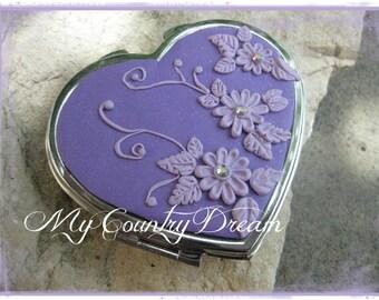 Art Pocket Mirror -- with beautiful handmade flowers -- heart compact mirror pocket
