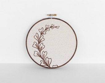 "Embroidery Art Botanical Leaf Fiber Art. Embroidery Hoop Art of Brown and Tan Leaf Design in 6"" Hoop"