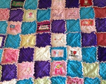 Custom made keepsake treasures rag quilt made with baby clothes for boy or girl