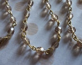 Bead Chain Smoke Topaz 4mm Fire Polished Glass Beads on Brass Beaded Chain - Qty 18 inch strand
