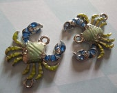Jewelry Connectors - Silver, Mint Green and Blue Crab Charms with Rhinestones - 23 x 20mm - Qty 2