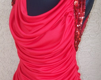 Vintage Tadashi 80s Red Drapped Dress w/Sequins Sz 4