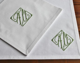 Monogrammed Personalized Embroidered Cloth Placemats Table Linen made with Vintage French Metis Linen All Initials Available