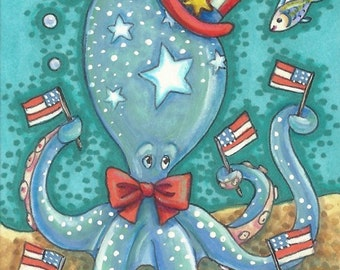 Americana Blue OCTOPUS Uncle Sam Red White And Blue Flags Folk Art ACEO Susan Brack EBSQ