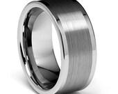 10MM High Polish Matte Finish Men's Tungsten Flat Ring Wedding Band Sizes 8 8.5 9 9.5 10 10.5 11 11.5 12 12.5 13 13.5 14
