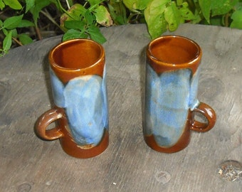 Vintage Set of 2 Pottery Caffe Dvita Espresso Cups Mugs Coffee Latte Blues Browns Greens Serving Home Decor Dining Kitchen