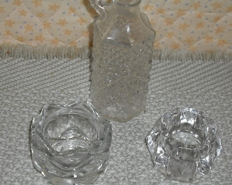 Clearance Vintage 3 Pieces Pressed Cut Clear Glass Cruet Votive Candle Holders Retro Kitchen Dining Home Wedding Decor