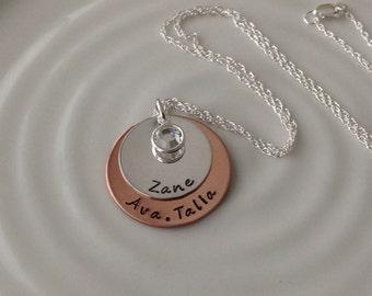 Copper and Silver Mom Necklace