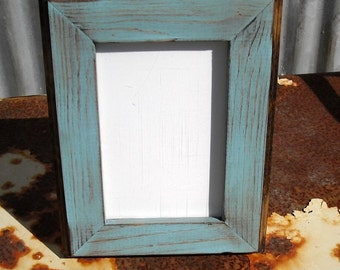 5x7 Picture Frame, Baby Blue Rustic Weathered Style With Routed Edges