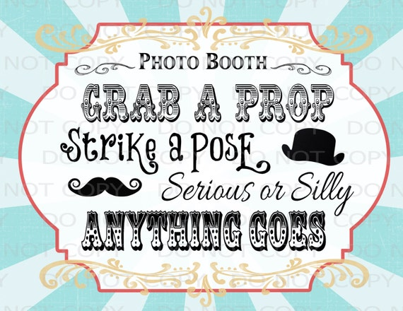 Printable DIY Vintage Circus Photo Booth Prop Sign 8.5