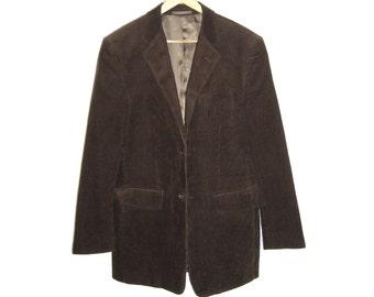 ON SALE Vintage Mens Brown Cords Jacket Blazer Size M to L Cedarwood State 36 Indie Chocolate