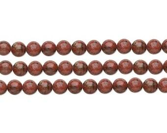 Round  Red Sesame Jasper  Beads  8mm 16 Inch Strand