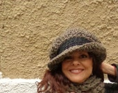 Custom Listing for Melissa!! Hat, Chunky, Brim, Contrast, Two Color, Fashion, Winter, Fall, Warm, Statement, Barley, Brown, Gray