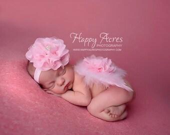 PINK NEWBORN WINGS and headband, feather wings, newborn angel wings, newborn photography prop