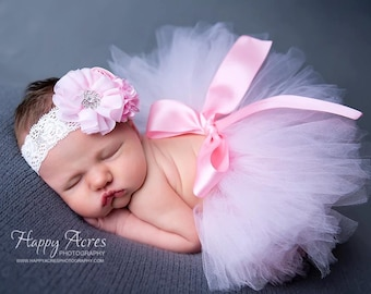 Palest Pink tutu with vintage style headband, newborn tutu, baby tutu, tutu and headband, newborn photography prop