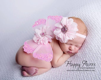 NEWBORN Wings,  pink wings and headband set, Angel Wings, newborn photography prop, baby wings, fairy wings