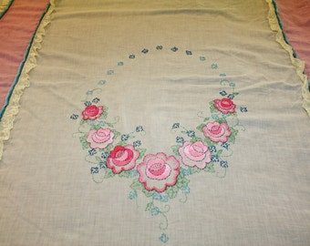 Antique Embroidered Bedspread Coverlet Sheer Organdy Double Size