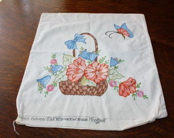 Embroidered Tinted Pillow Cover Vintage 1930s Flower Basket Vogart Style