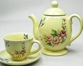 Tea or Coffee Pot Service for One Sunshine Yellow with Red Roses and Blue Butterflies Tea for One