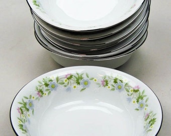 China Dessert Bowls Vintage 50s Haviland Bavarian China Set of Eight