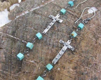 Faith Chains--Sterling and Turquoise Cube Bead Cross Earrings