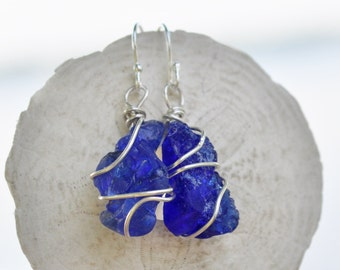 Seaglass Earrings, Cobalt Blue Seaglass Jewelry, Sterling Silver, Wire Wrapped Seaglass,