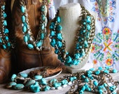 Chunky Turquoise Statement Necklace Country Cowgirl Western Accessories Bohemian Boho Chic