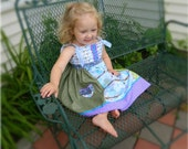 Matilda Jane Inspired Knot dress in shades of Green, Blue, Purple, Teal and Pink with Owls, size 4T - ready to ship
